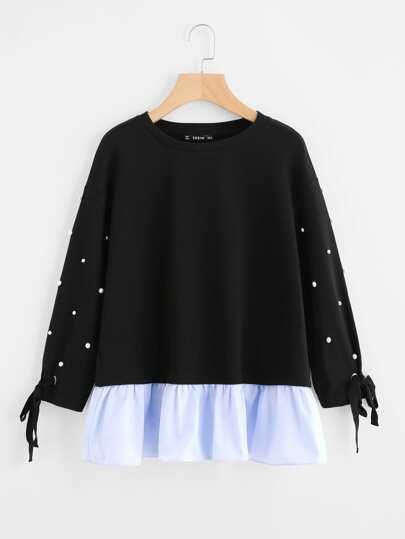 Pullover mit gebundener Manschette, Perlen und Raffung