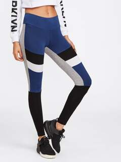 Cut And Sew Striped Leggings