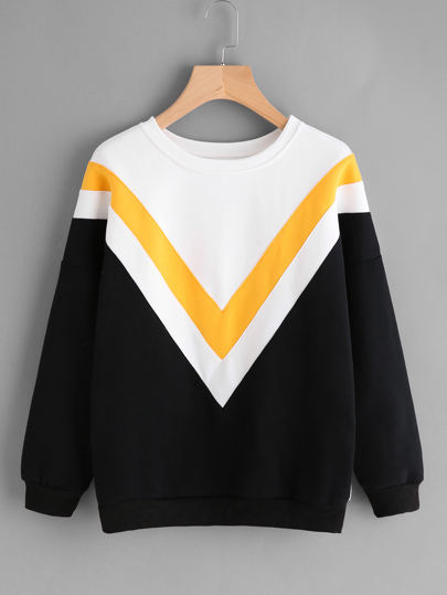 Drop Shoulder Chevron Pattern Sweatshirt