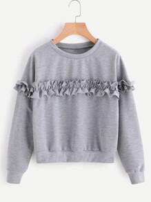 Drop Shoulder Frill Trim Marled Sweatshirt