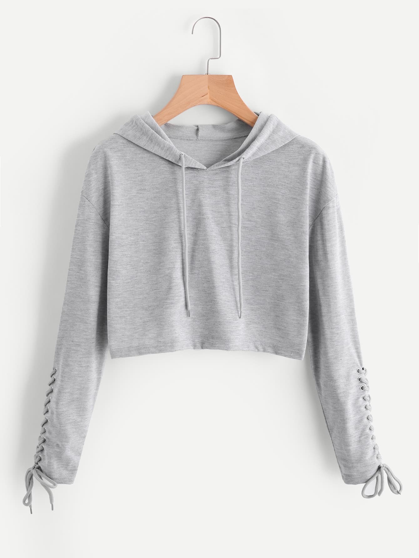 Grommet Lace Up Sleeve Crop Marled Hoodie raglan sleeve binding marled crop top