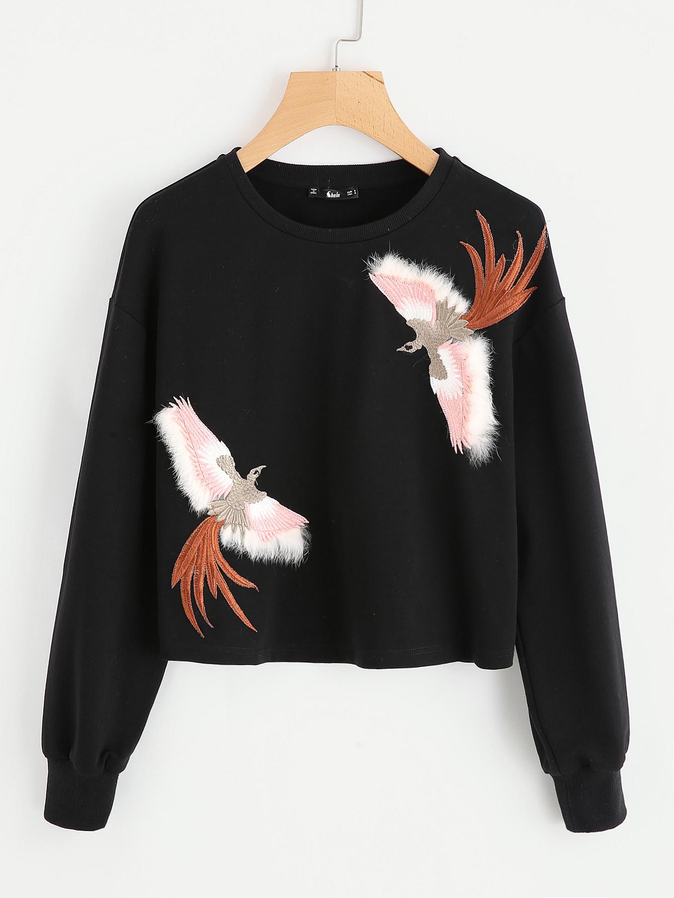 Embroidered Bird Patch Sweatshirt bird patch purse