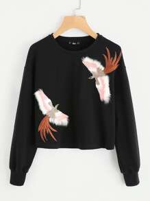 Embroidered Bird Patch Sweatshirt