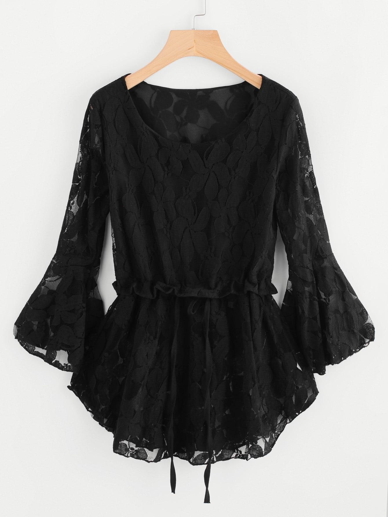 Floral Lace Flute Sleeve Drawstring Pep Hem Blouse tree print drawstring hem hooded blouse
