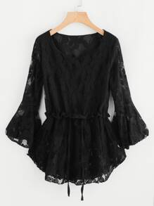 Floral Lace Flute Sleeve Drawstring Pep Hem Blouse