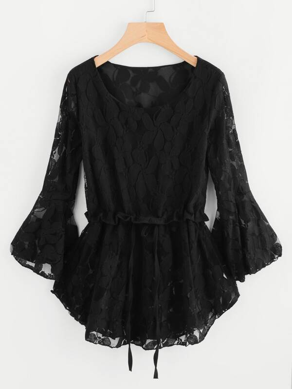 Floral Lace Flute Sleeve Drawstring Pep Hem Blouse by Sheinside