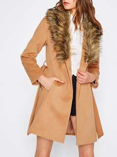 Faux Fur Shawl Collar Self Belted Coat