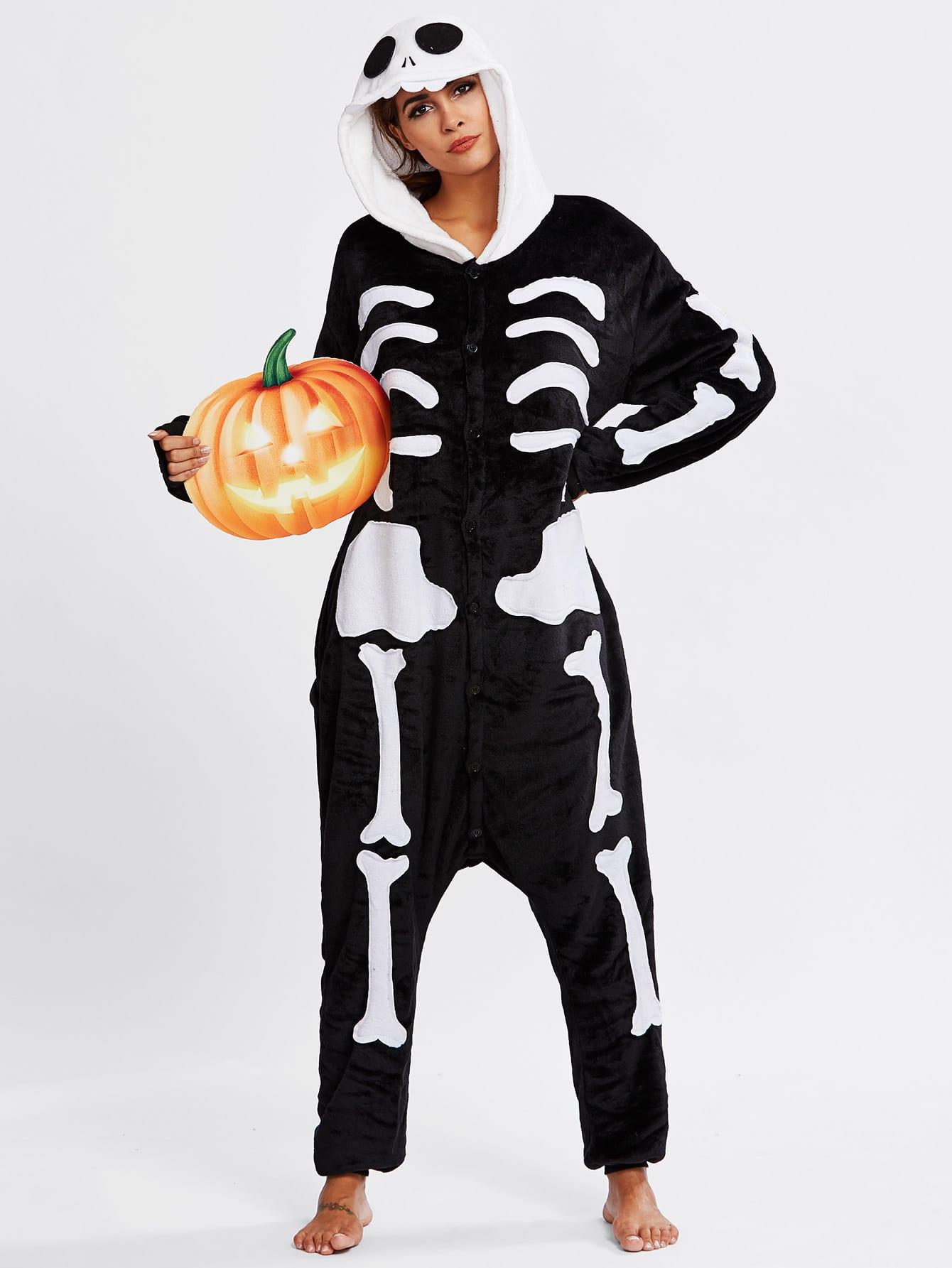 Halloween Skeleton Pj Jumpsuit plastic standing human skeleton life size for horror hunted house halloween decoration