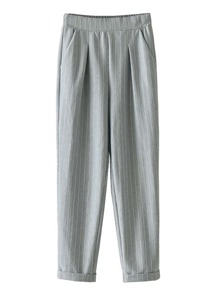 Rolled Cuff Vertical Striped Pants