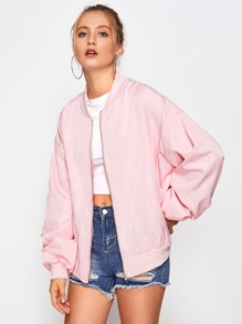 Oversized bomber jacket with patches