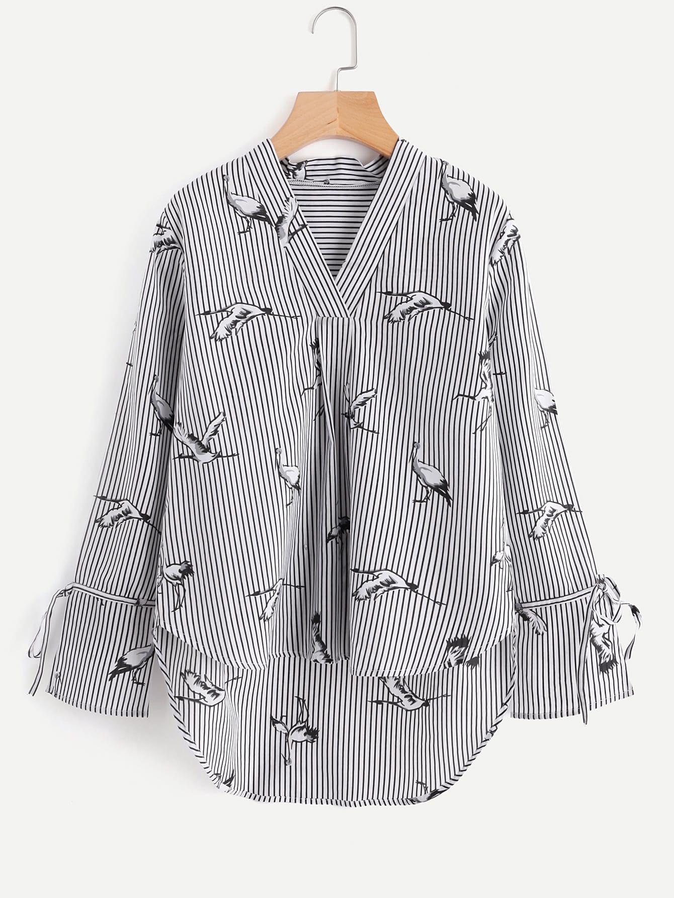 All Over Cranes Print Dip Hem Striped Blouse all over florals dip hem shirt