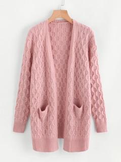 Dual Pocket Textured Geo Pattern Sweater Coat