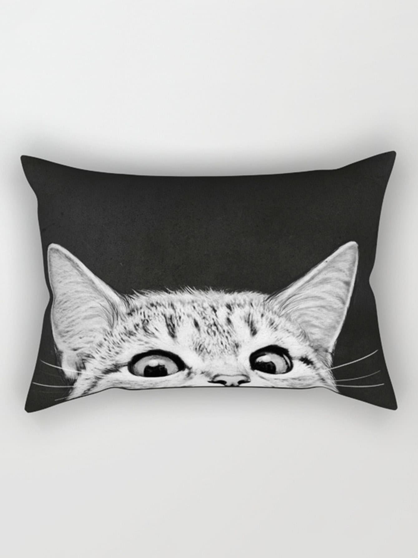 Image of Cat Print Pillowcase Cover
