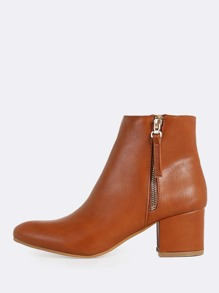 Patent Point Toe Zip Up Ankle Booties COGNAC