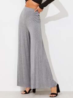Elasticized Waist Super Wide Leg Heathered Pants