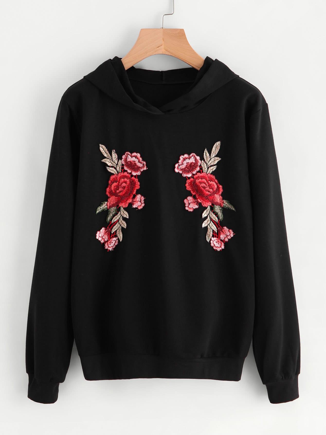 Embroidered rose applique hoodie shein sheinside