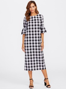 Bell Sleeve Buttoned Keyhole Back Gingham Dress