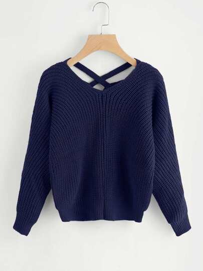 Criss Cross V Back Sweater