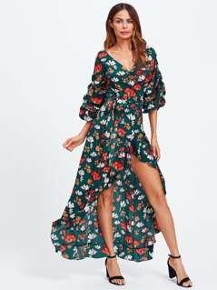 Flower Print Gathered Sleeve Surplice Wrap Dress
