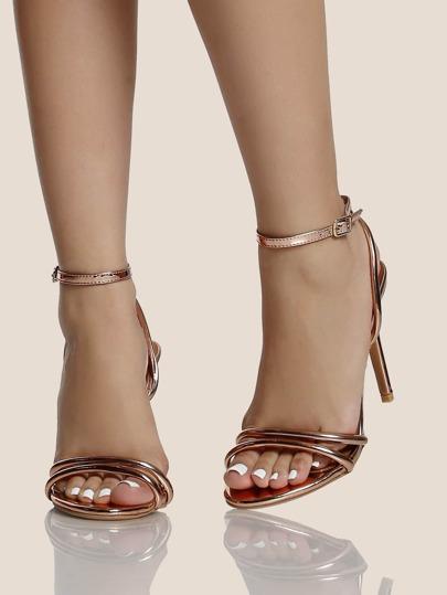 Strappy Ankle Strap Metallic Heels ROSE GOLD -SheIn(Sheinside)