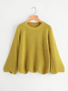 Raglan Sleeve Wave Trim Chunky Knit Sweater