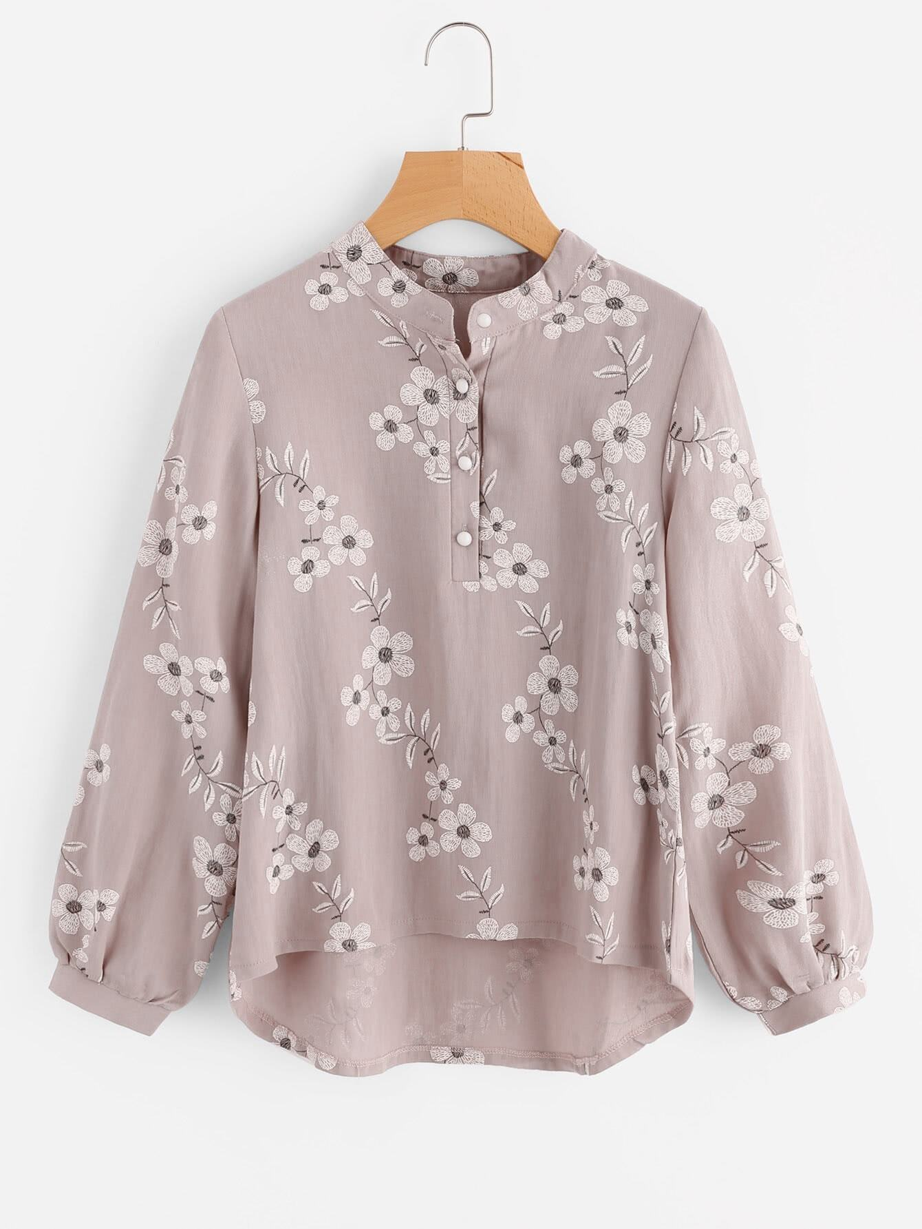 All Over Florals Dip Hem Blouse all over florals ruffle hem top