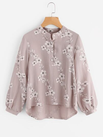 All Over Florals Dip Hem Blouse