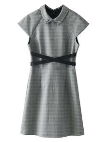 Rhinestone Embellished Collar Plaid Dress With Belt