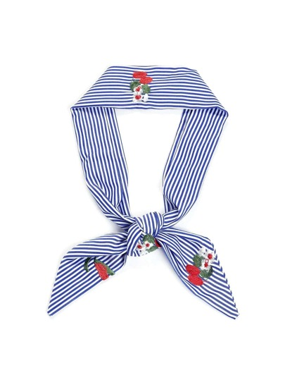 Calico Embroidery Striped Twilly Scarf