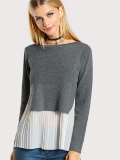 Pleated Hem Sweater GREY WHITE