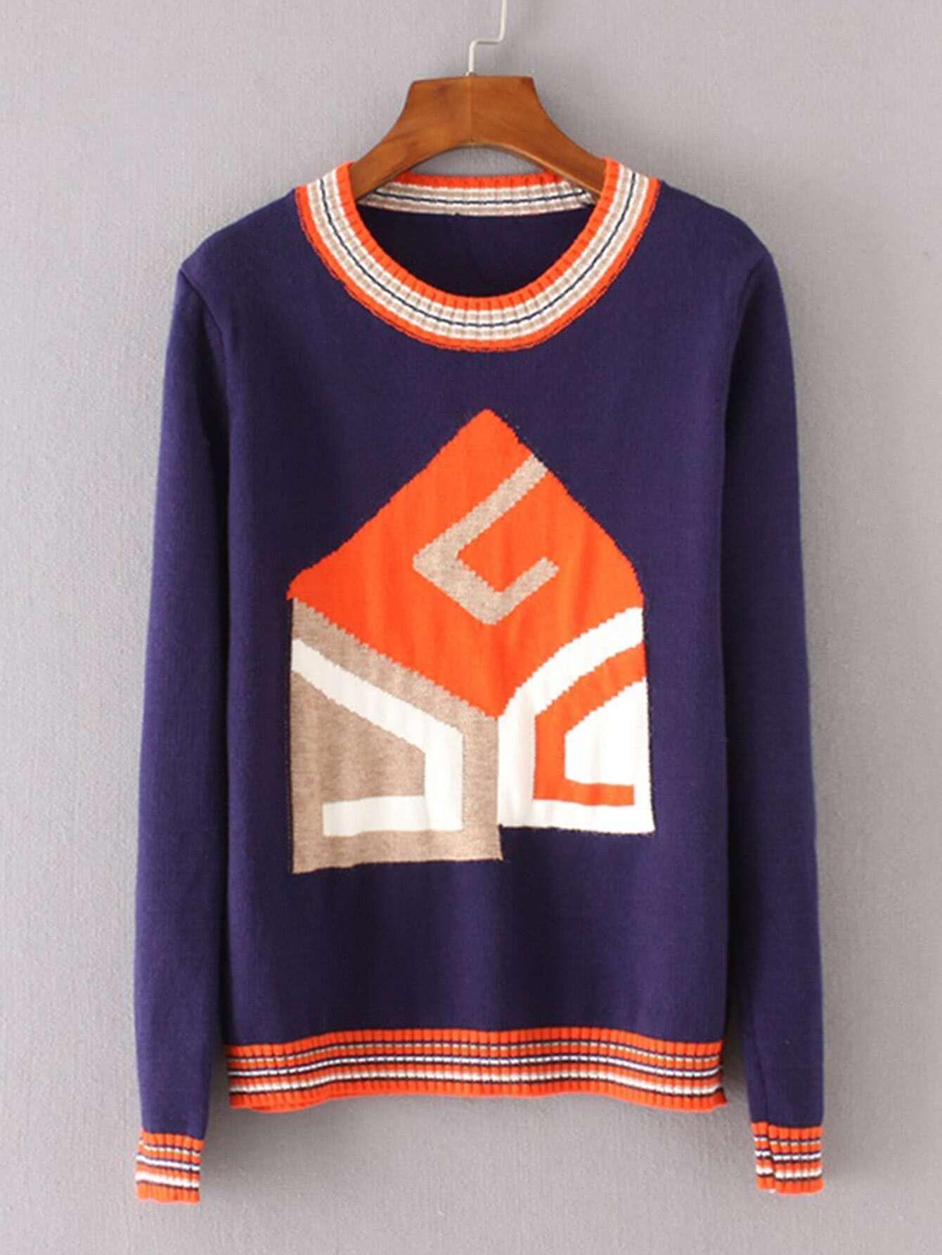 Striped Trim Geometric Pattern Sweater