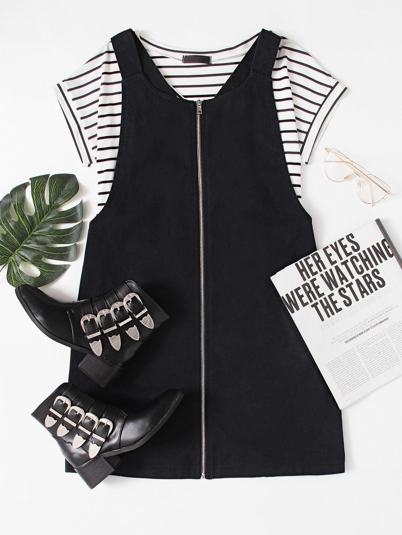 Pocket Front Zip Up Overall Dress zip front tank dress