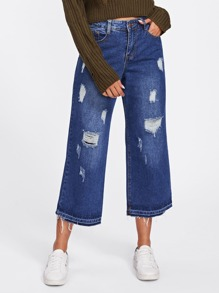 Destructed Wide Jeans