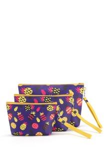 Pineapple Print Makeup Bag 3pcs