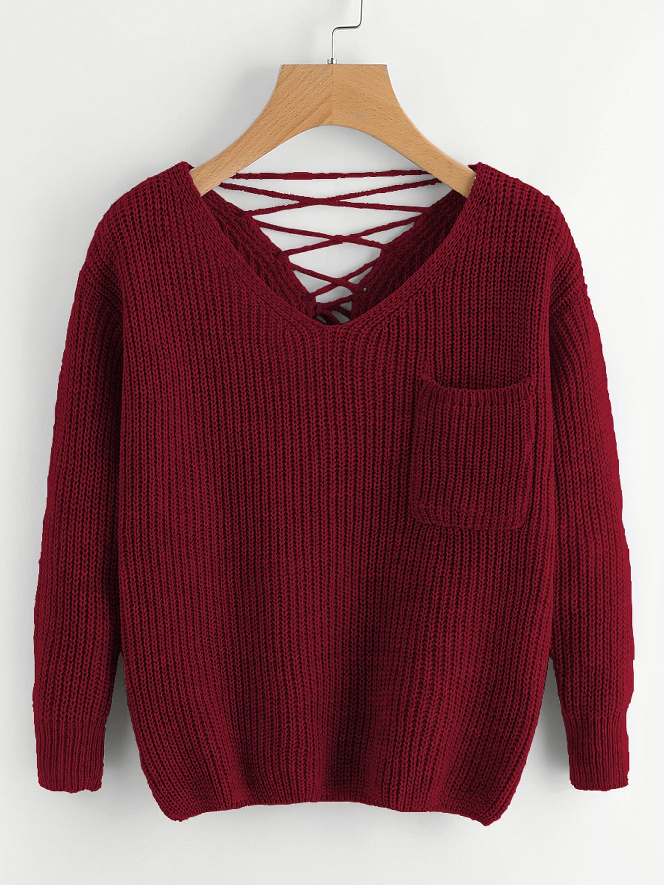 Double V Lace Up Back Chunky Knit Jumper lace up cable knit jumper