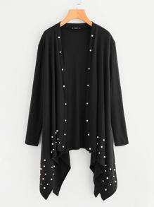 Pearl Beading Hanky Hem Jersey Coat