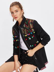 Embroidered Yoke Tassel And Pom Pom Trim Utility Jacket