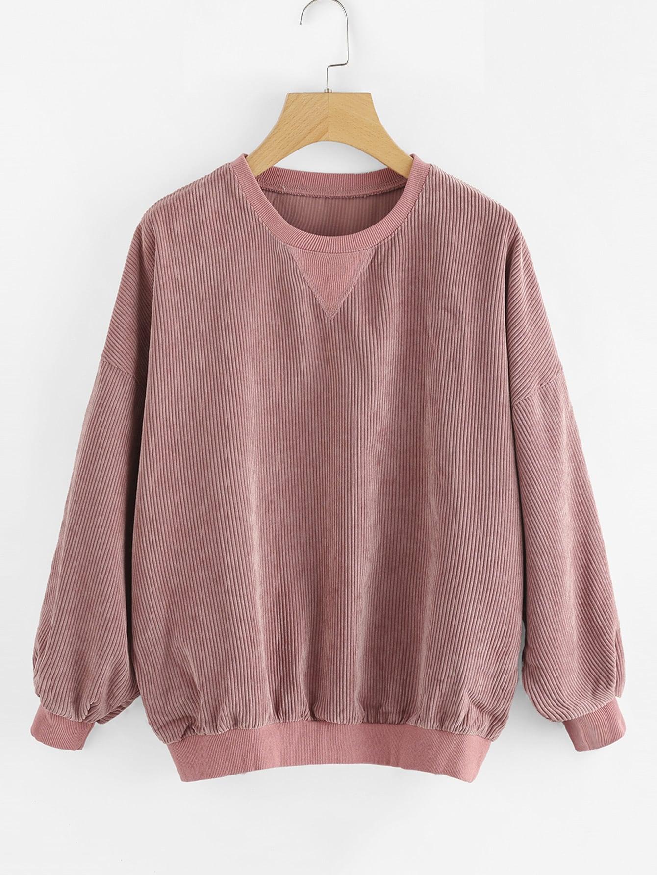 Drop Shoulder Ribbed Sweatshirt sweatsh170927031