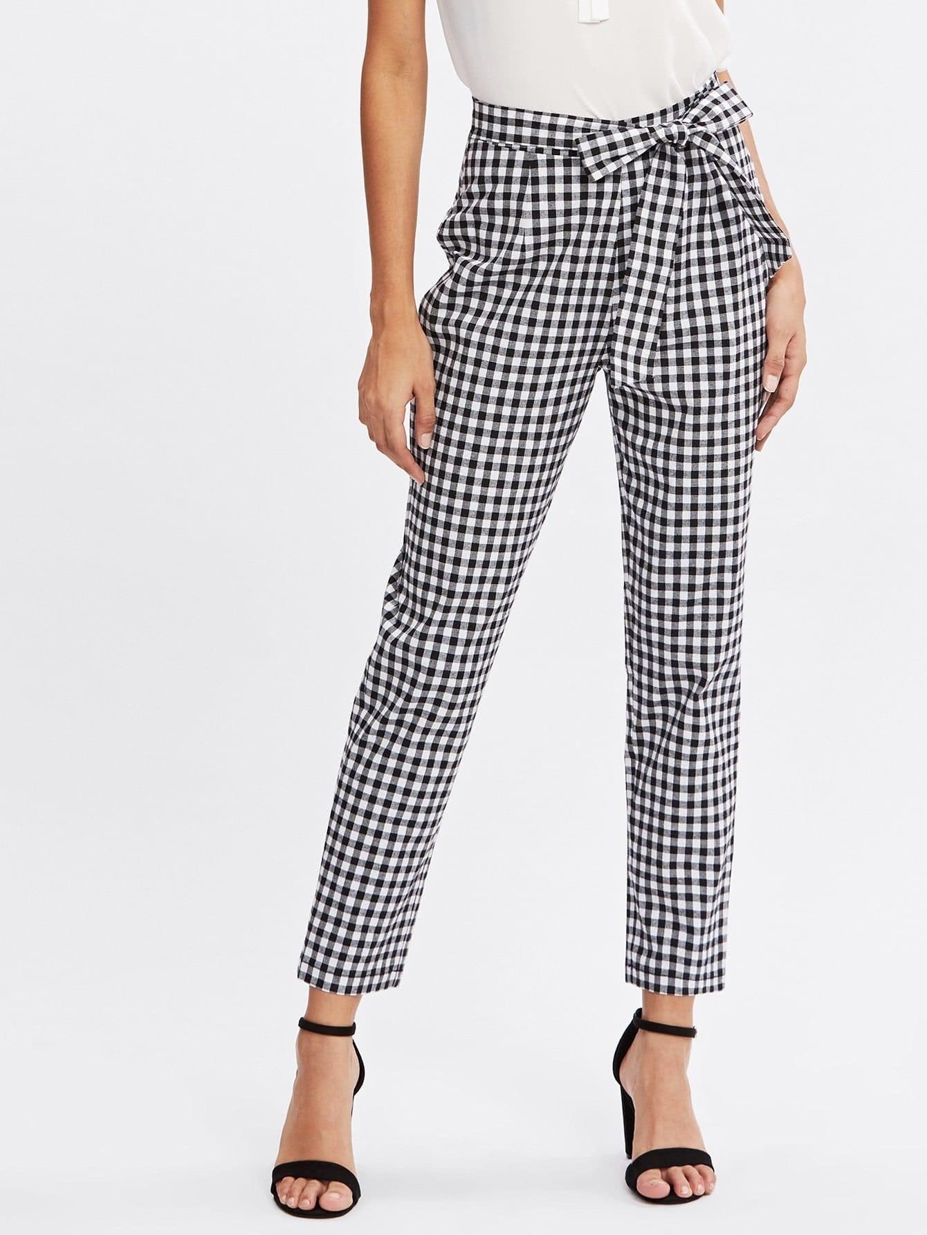 Checkered Bow Tie Waist Smoking Pants dark grey tie waist sports pants