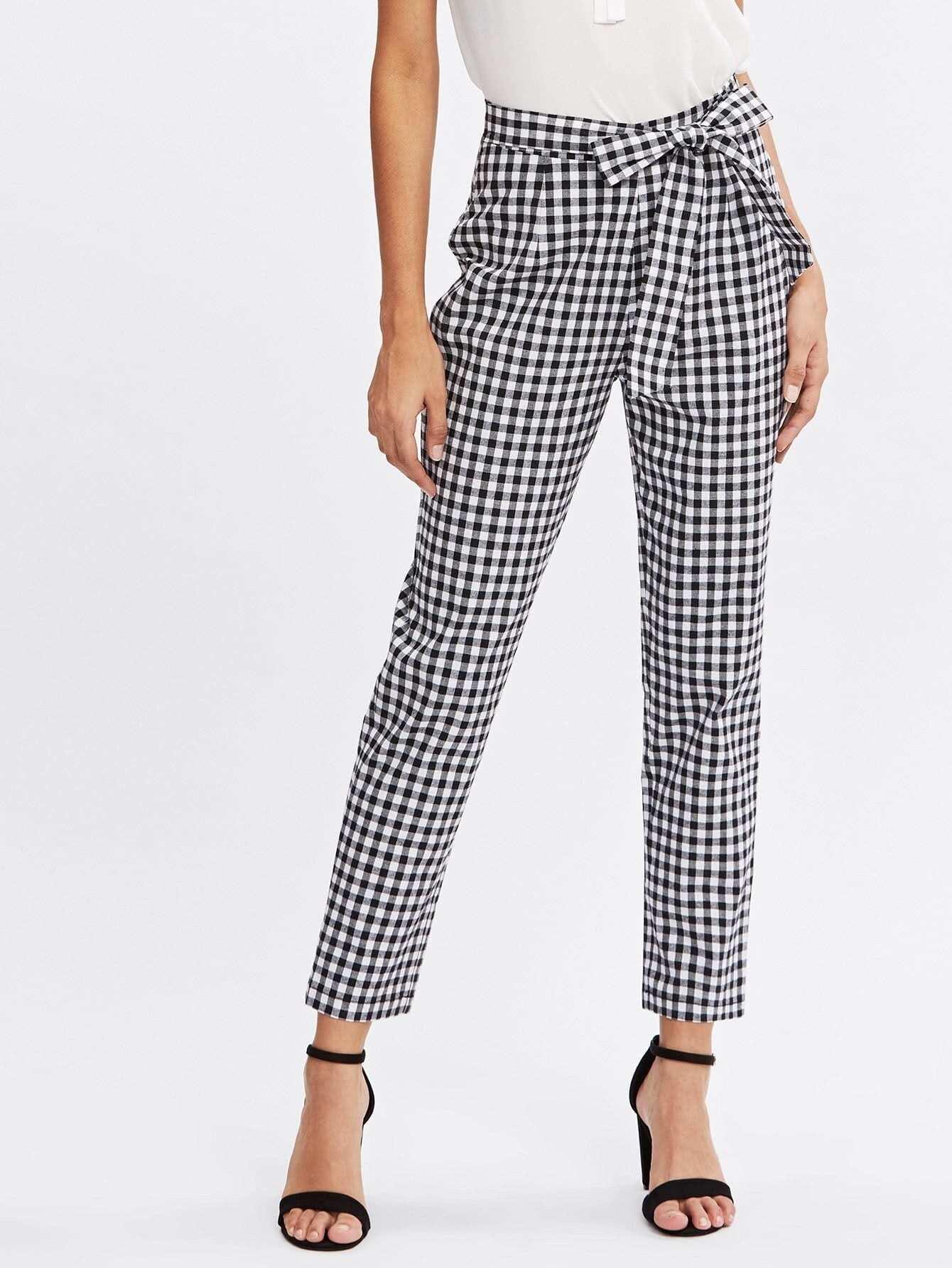 Checkered Bow Tie Waist Smoking Pants