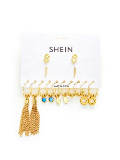 Chain Tassel Multi Shaped Earring Set