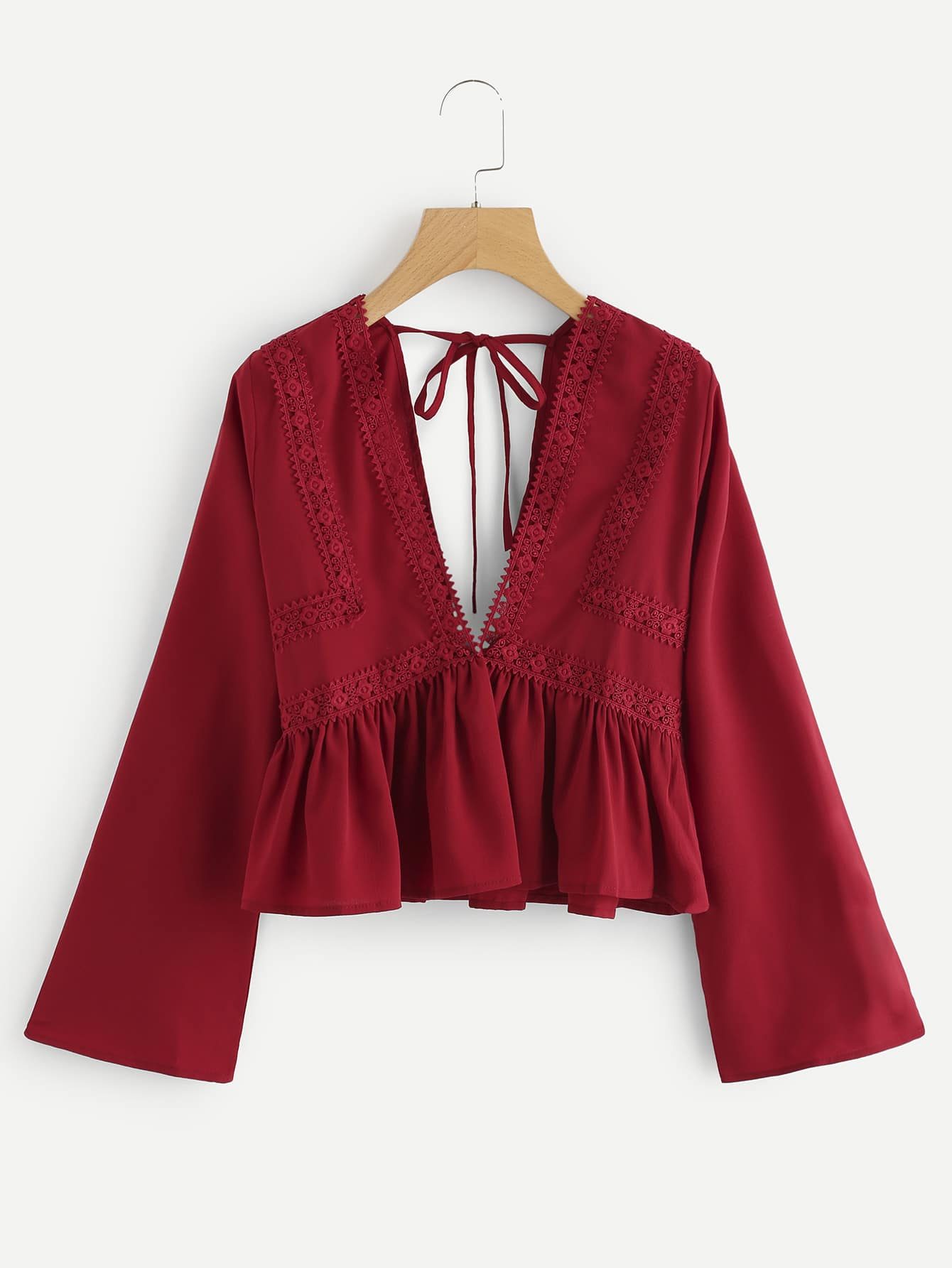 Plunging V-neckline Lace Trim Self Tie Frill Top