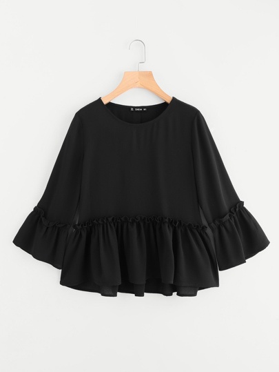 Ruffle Cuff And Hem Textured Blouse
