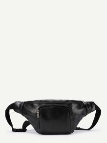 Zipper Pocket PU Bum Bag