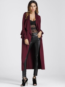 Tiered Frill Sleeve Waterfall Coat