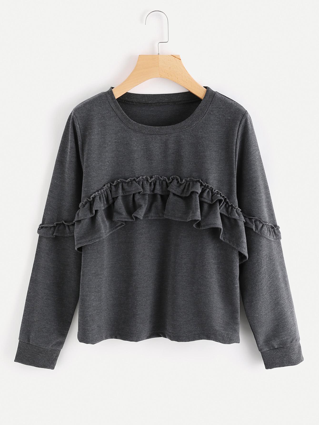 Frill Trim Sweatshirt frill sleeve tape detail sweatshirt