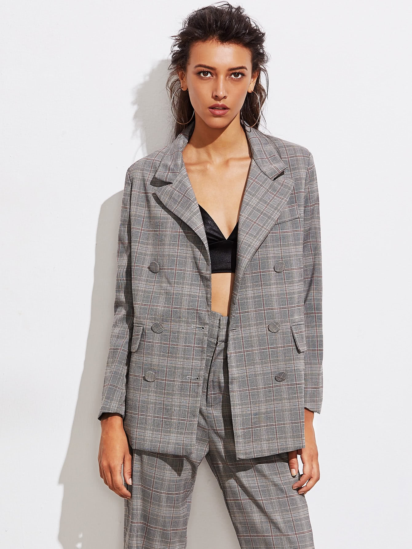 Double Breasted Boyfriend Plaid Blazer