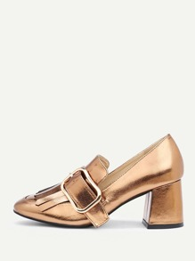 Buckle Design Metallic Block Heeled Shoes