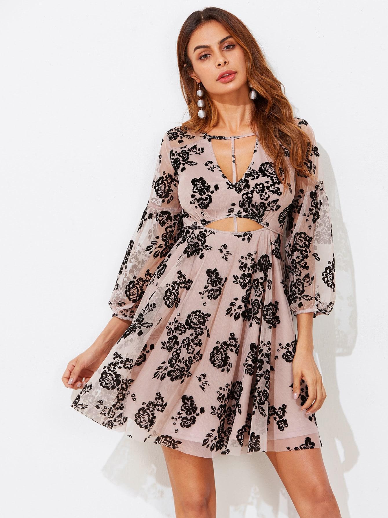 T-strap Front Cutout Midriff Flock Mesh Dress knot front cutout midriff halterneck gingham dress