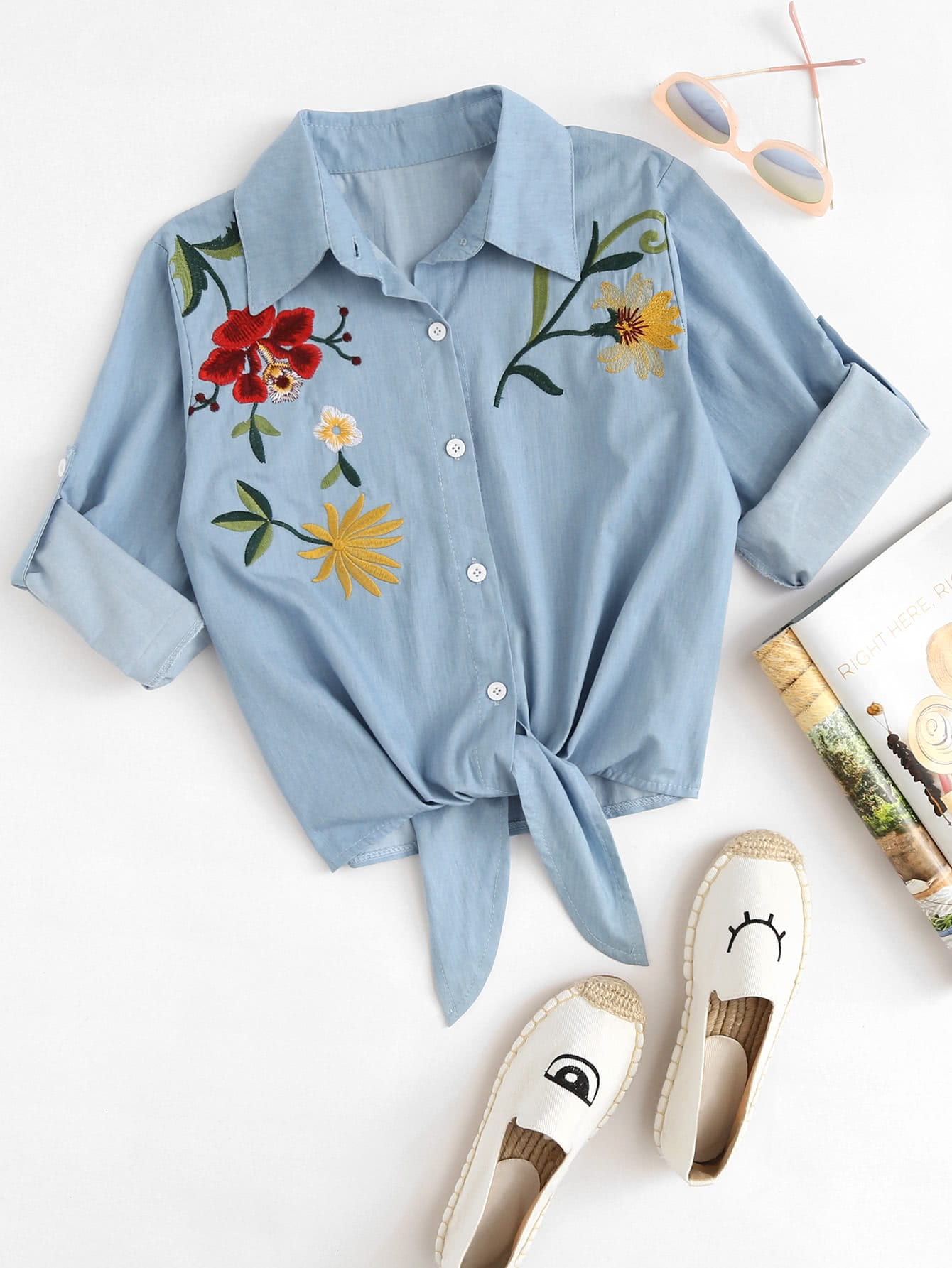 Embroidered Roll Up Sleeve Self Tie Denim Shirt
